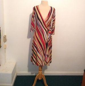 BCBGMaxazaria Red Beige Striped Wrap Dress